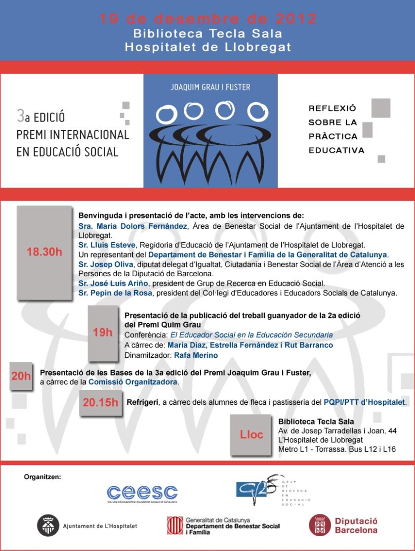 3a. edició premi internaciónal en Educació Social